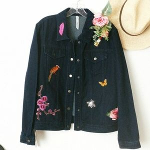 Ny Collection Embroidered Patch Denim Jean Jacket